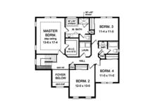 Colonial Floor Plan - Upper Floor Plan Plan #1010-157