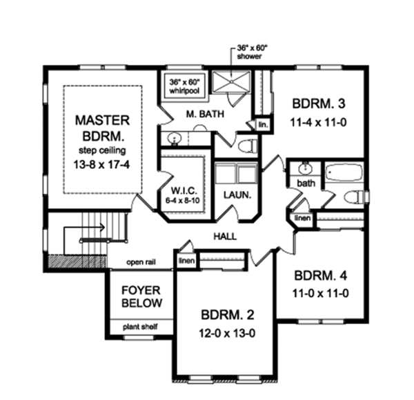 Colonial Floor Plan - Upper Floor Plan Plan #1010-157