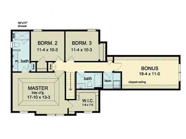 Colonial Floor Plan - Upper Floor Plan Plan #1010-33