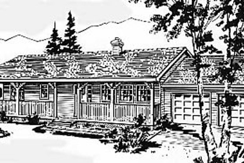 Cabin Style House Plan - 2 Beds 1 Baths 1196 Sq/Ft Plan #18-127 Exterior - Front Elevation