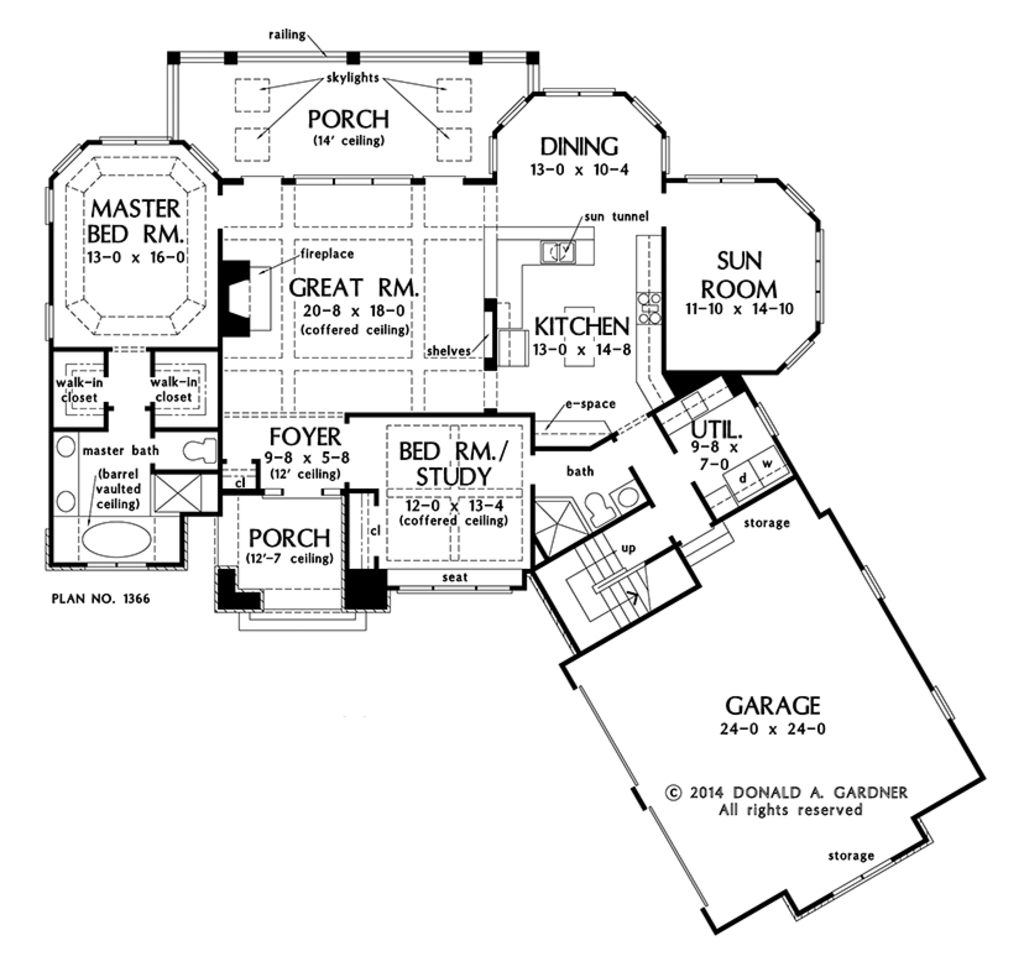 Ranch style house plan 2 beds 2 baths 1822 sq ft plan for Garage design source