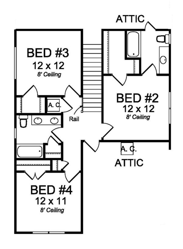 Country Floor Plan - Upper Floor Plan Plan #513-2163