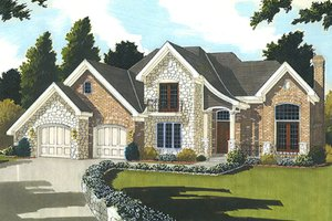 European Exterior - Front Elevation Plan #46-849