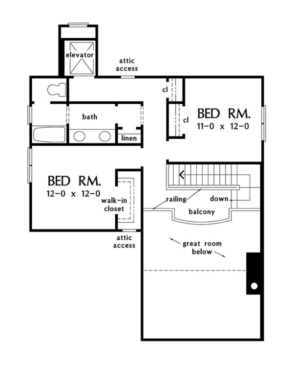 Craftsman Floor Plan - Upper Floor Plan #929-986
