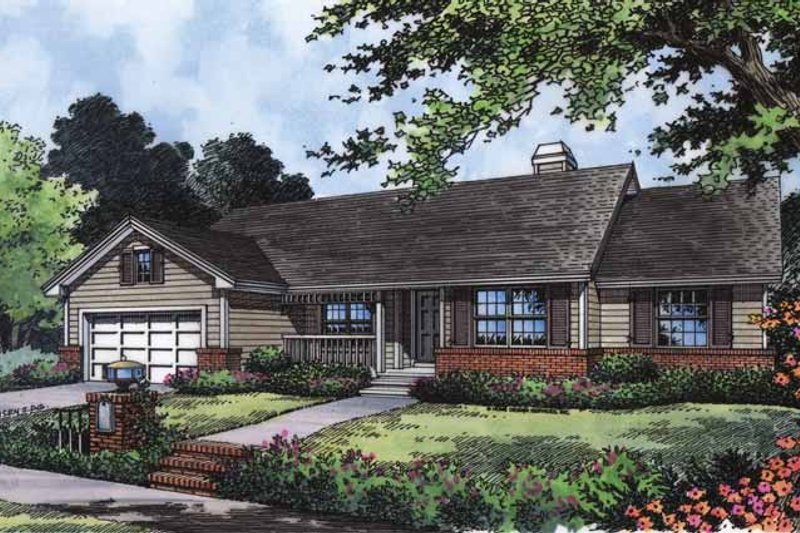 Country Exterior - Front Elevation Plan #417-722