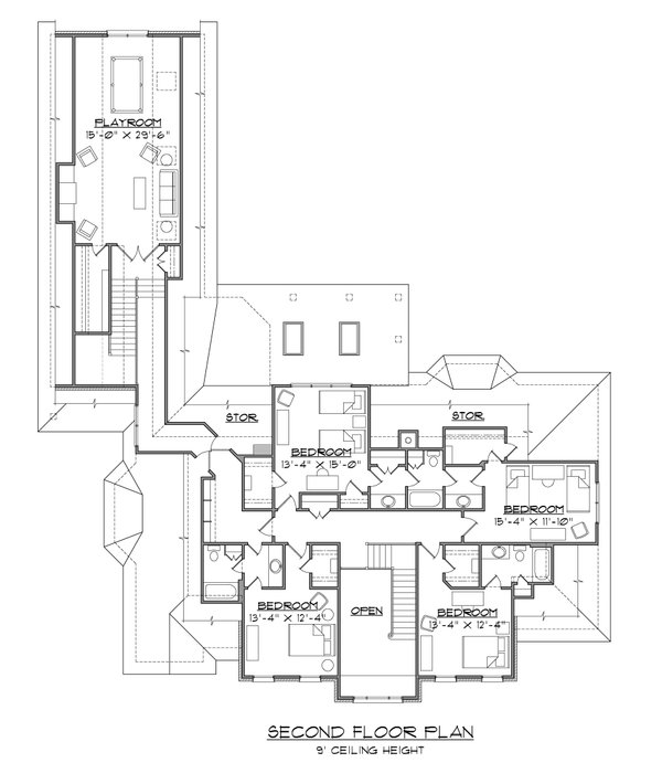 Traditional Floor Plan - Upper Floor Plan #1054-58