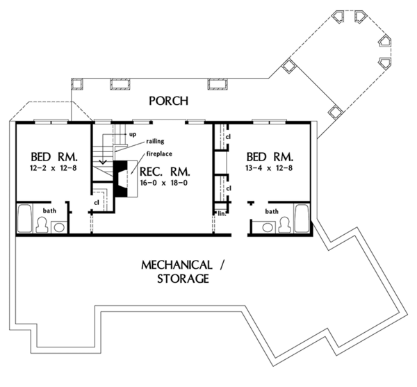 Craftsman Floor Plan - Lower Floor Plan Plan #929-970