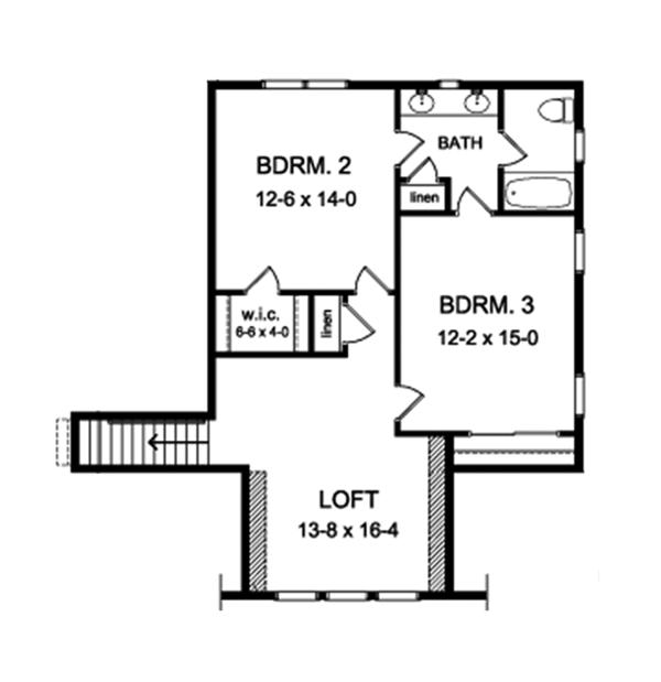 Craftsman Floor Plan - Upper Floor Plan Plan #1010-161
