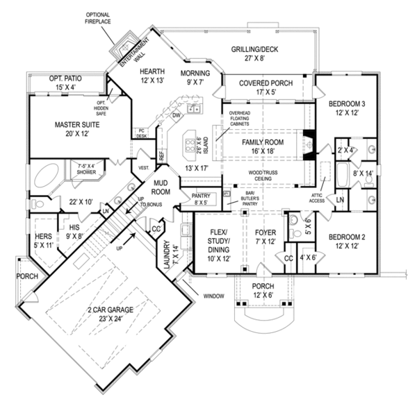 Craftsman Floor Plan - Main Floor Plan Plan #119-422