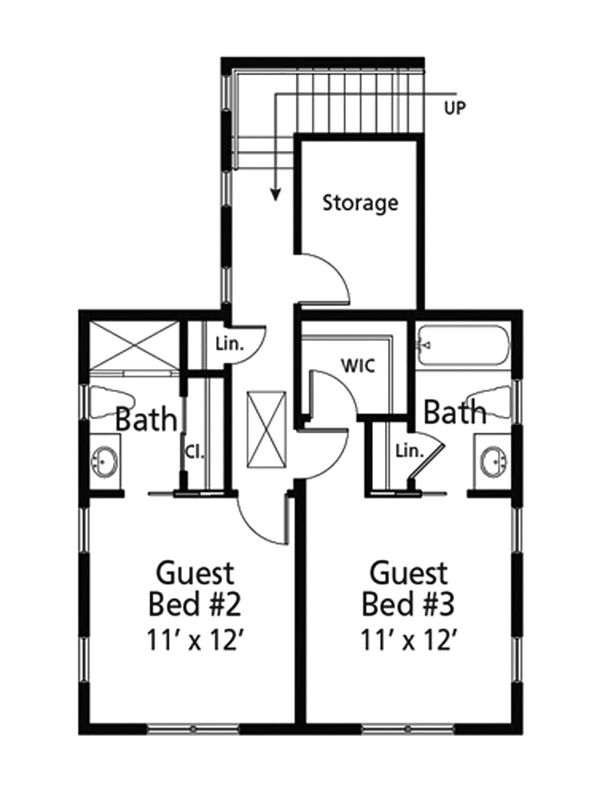 Cottage Floor Plan - Upper Floor Plan Plan #938-107