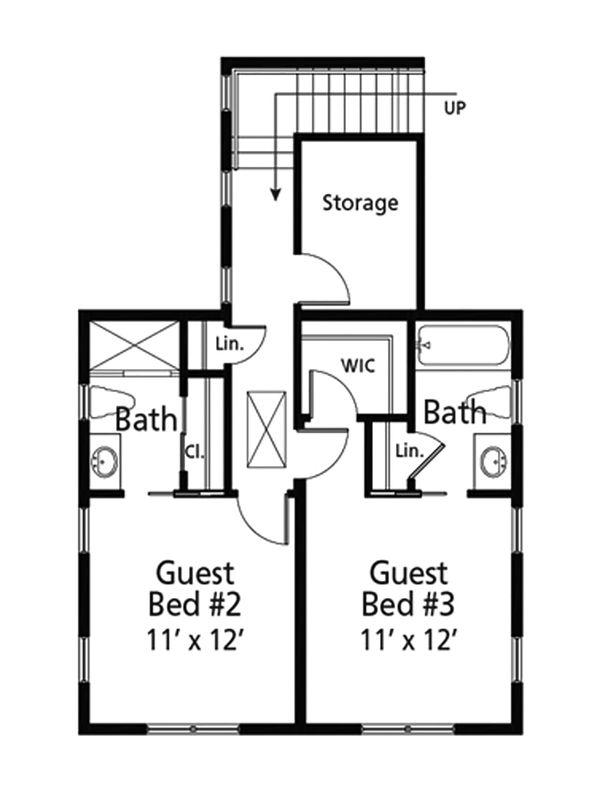 Architectural House Design - Cottage Floor Plan - Upper Floor Plan #938-107
