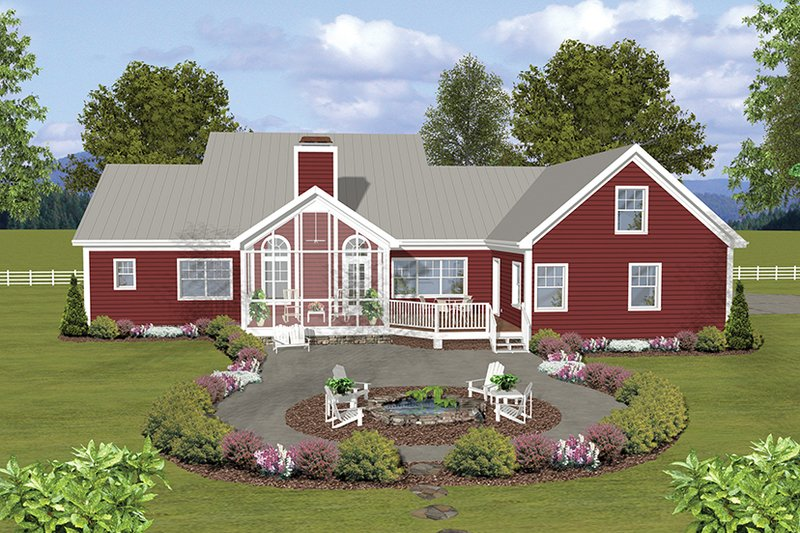 Ranch Exterior - Rear Elevation Plan #56-696 - Houseplans.com