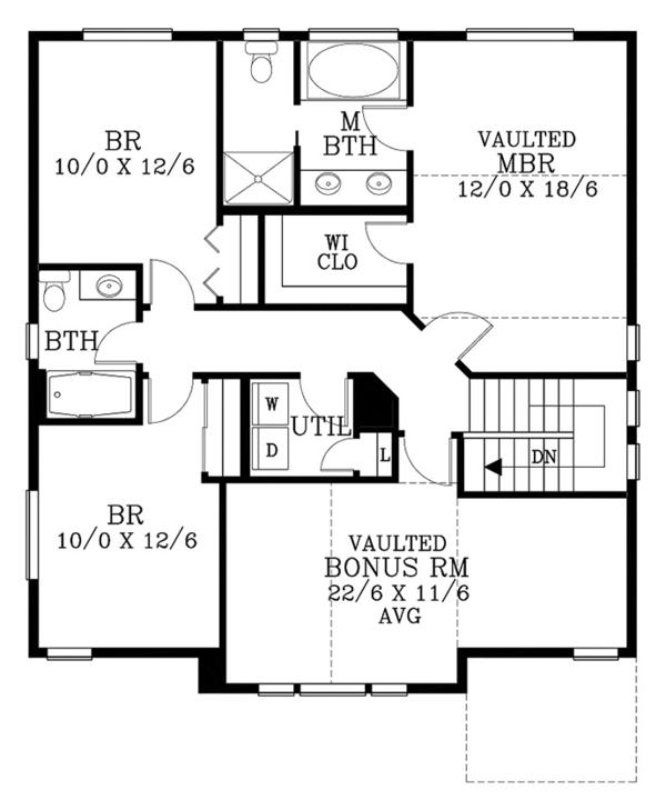 Country Floor Plan - Upper Floor Plan Plan #53-580