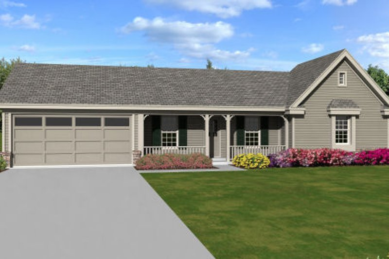 Ranch Style House Plan - 3 Beds 2 Baths 1239 Sq/Ft Plan #81-13863 Exterior - Front Elevation
