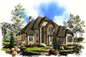 European Exterior - Front Elevation Plan #5-382