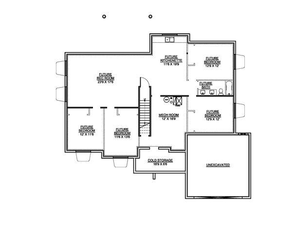 House Blueprint - Contemporary Floor Plan - Lower Floor Plan #1073-20