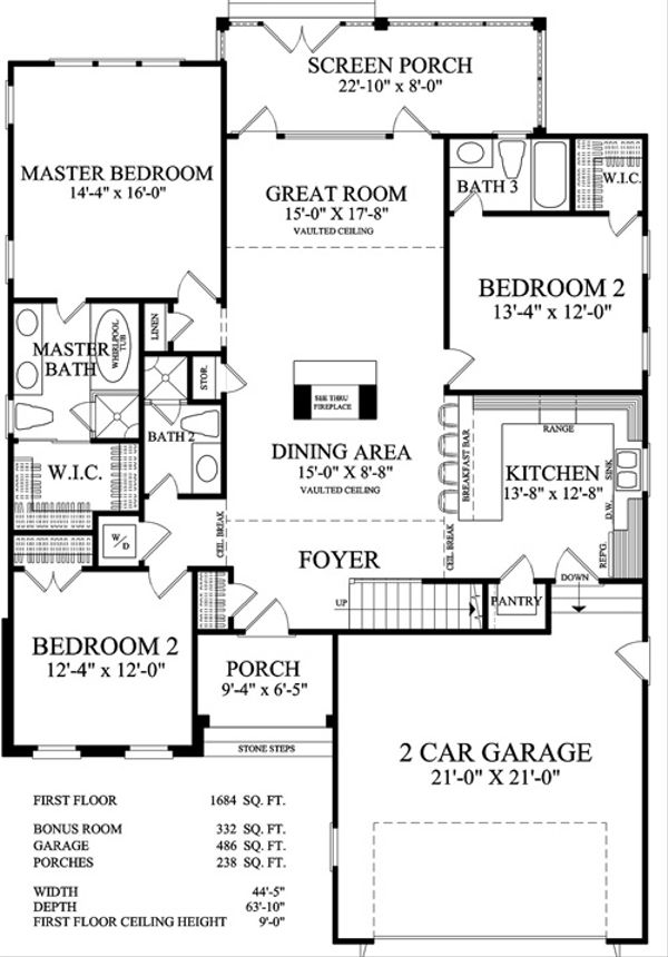 Traditional Floor Plan - Main Floor Plan Plan #137-250