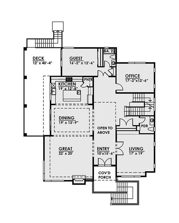 Contemporary Floor Plan - Main Floor Plan Plan #1066-37