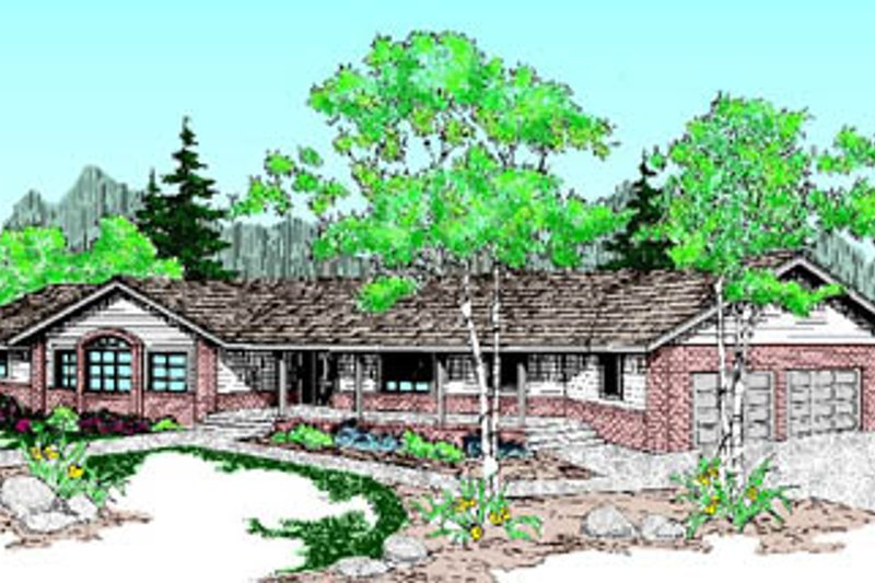 Ranch Style House Plan - 3 Beds 2 Baths 2465 Sq/Ft Plan #60-194 Exterior - Front Elevation