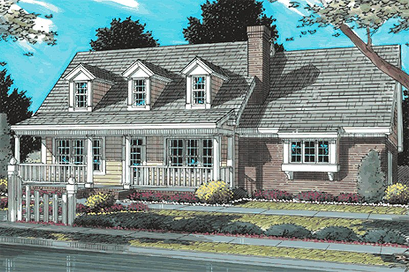 Country Style House Plan - 3 Beds 2.5 Baths 1628 Sq/Ft Plan #20-340 Exterior - Front Elevation