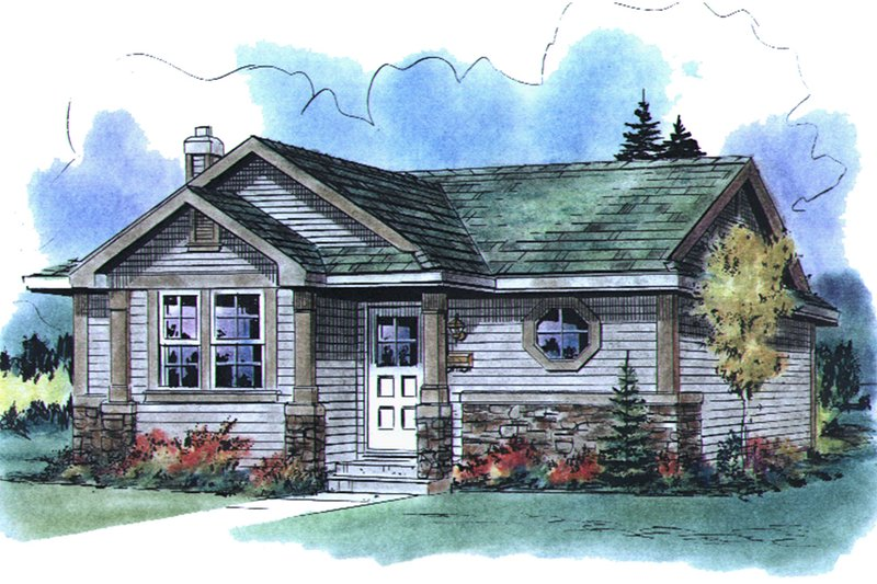 Cottage Style House Plan - 1 Beds 1 Baths 574 Sq/Ft Plan #18-1049 Exterior - Front Elevation