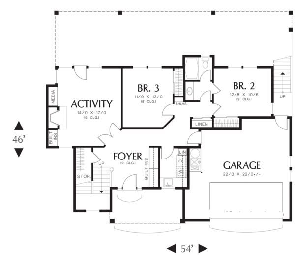 Craftsman Floor Plan - Main Floor Plan Plan #48-576