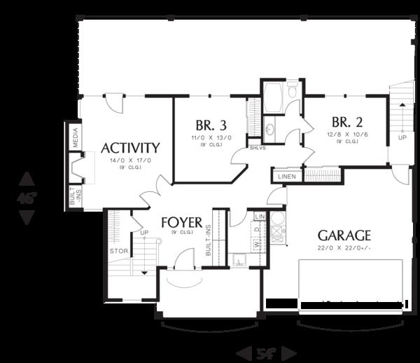 Craftsman Floor Plan - Main Floor Plan Plan #48-576