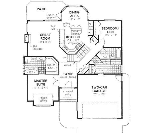 House Blueprint - Traditional Floor Plan - Main Floor Plan #18-1006