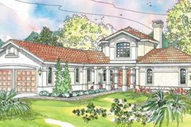 Mediterranean Style House Plan - 3 Beds 3 Baths 2979 Sq/Ft Plan #124-572 Exterior - Front Elevation
