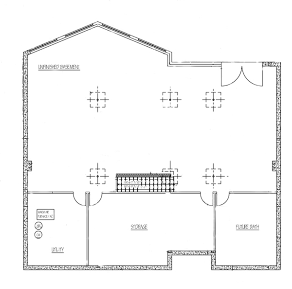 Country Floor Plan - Lower Floor Plan Plan #1061-12
