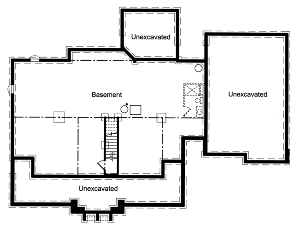Colonial Floor Plan - Lower Floor Plan Plan #46-864