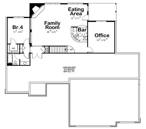 Architectural House Design - Traditional Floor Plan - Lower Floor Plan #20-2417