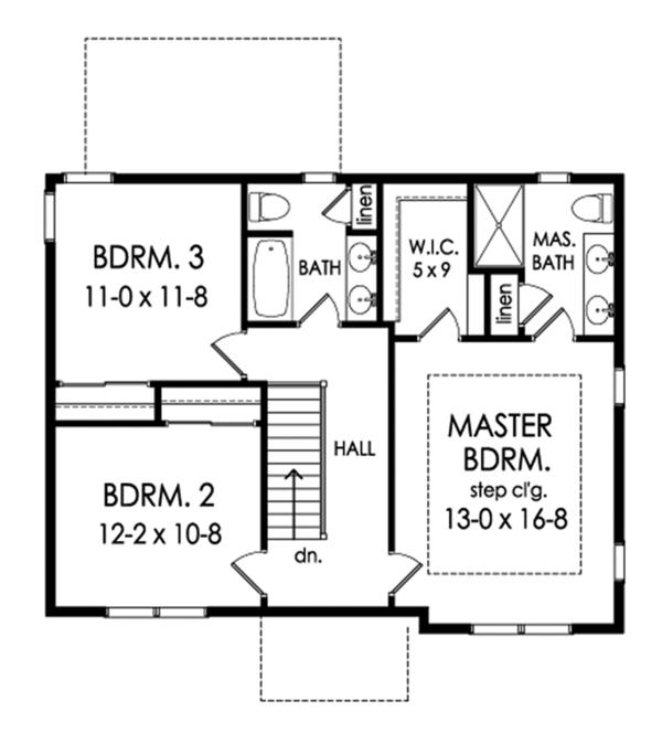 Traditional Floor Plan - Upper Floor Plan Plan #1010-201
