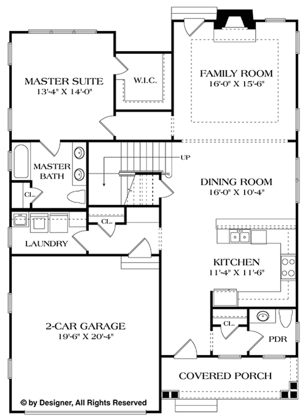 Architectural House Design - Craftsman Floor Plan - Main Floor Plan #453-621