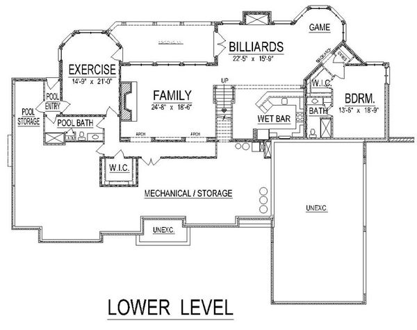 European Floor Plan - Lower Floor Plan Plan #458-13