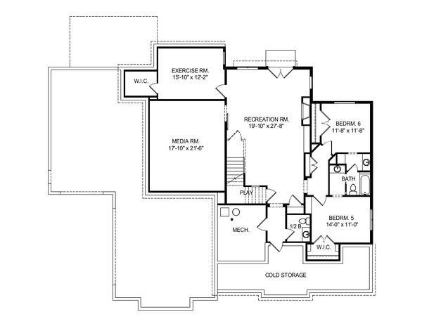 Craftsman Style House Plan - 4 Beds 2.5 Baths 3249 Sq/Ft Plan #920-102 Floor Plan - Lower Floor Plan