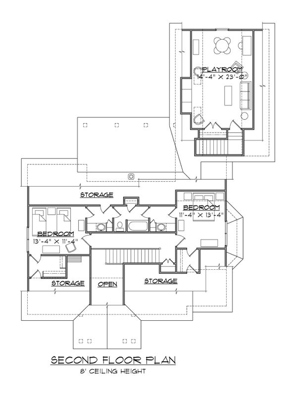 Dream House Plan - Craftsman Floor Plan - Upper Floor Plan #1054-62