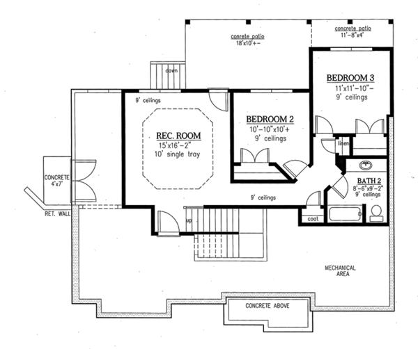 Ranch Floor Plan - Lower Floor Plan #437-77
