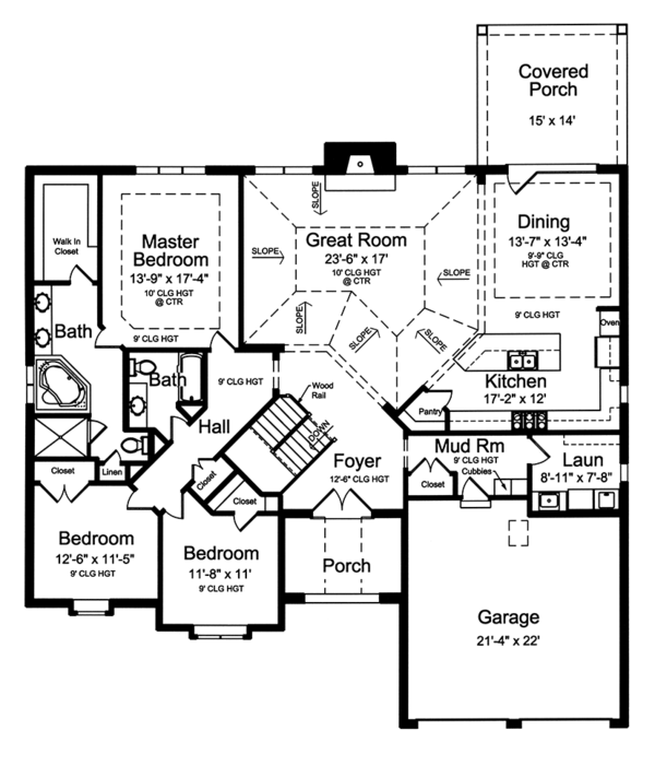 European Floor Plan - Main Floor Plan Plan #46-851