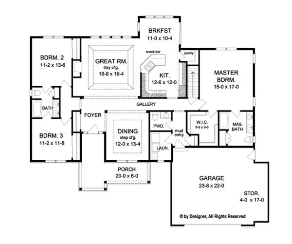 Ranch Floor Plan - Main Floor Plan Plan #1010-108