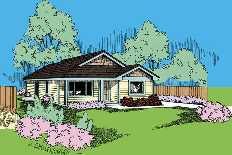 Architectural House Design - Craftsman Exterior - Front Elevation Plan #60-720