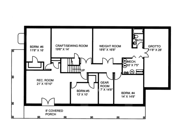 Colonial Floor Plan - Lower Floor Plan Plan #117-845