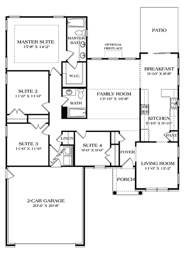 Colonial Floor Plan - Main Floor Plan Plan #453-628