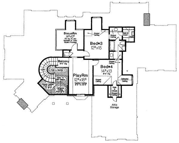 European Floor Plan - Upper Floor Plan Plan #310-194