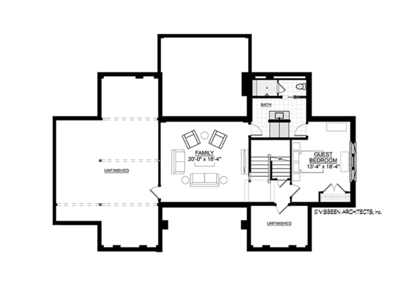 Contemporary Floor Plan - Lower Floor Plan Plan #928-291