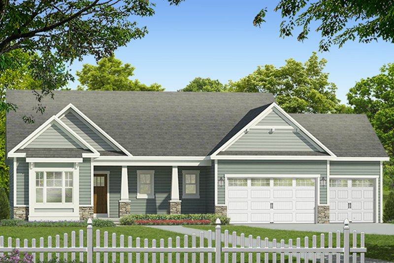Ranch Exterior - Front Elevation Plan #1010-183