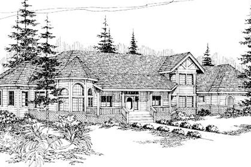 Dream House Plan - Tudor Exterior - Front Elevation Plan #60-241