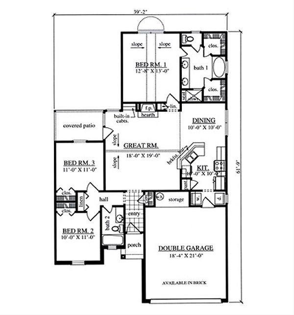 Traditional Floor Plan - Main Floor Plan Plan #42-401