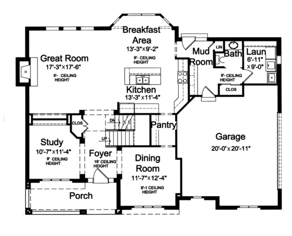 Craftsman Floor Plan - Main Floor Plan Plan #46-835