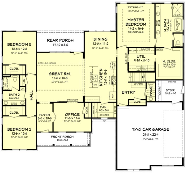 Farmhouse Style House Plan - 3 Beds 2.5 Baths 2468 Sq/Ft Plan #1067-3 Floor Plan - Main Floor Plan